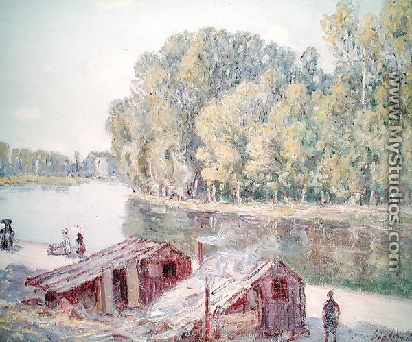Banks of the river 1896 by alfred sisley for Garage garcia saint mammes