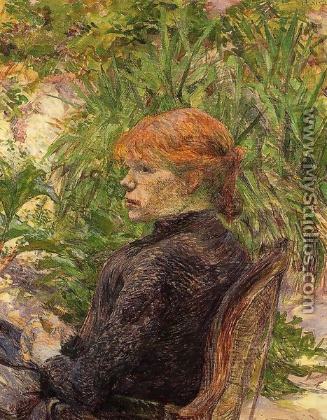 Red Haired Woman Seated in the Garden of M. Forest - Henri De Toulouse-Lautrec