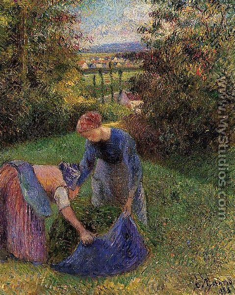 Women Gathering Grass By Camille Pissarro