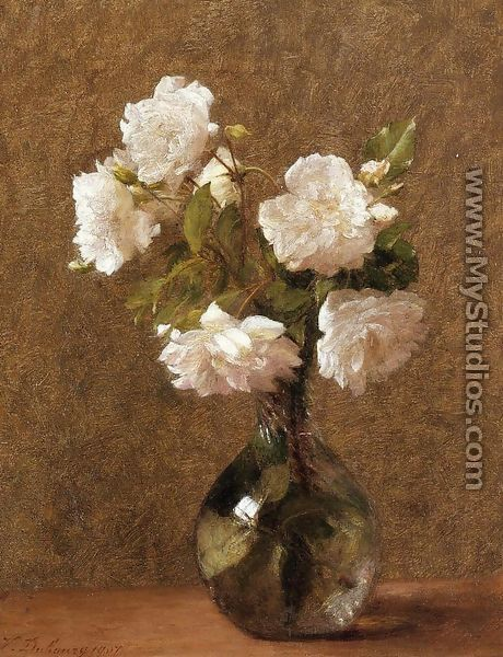 White roses in a vase by victoria dubourg fantin latour mystudios white roses in a vase mightylinksfo