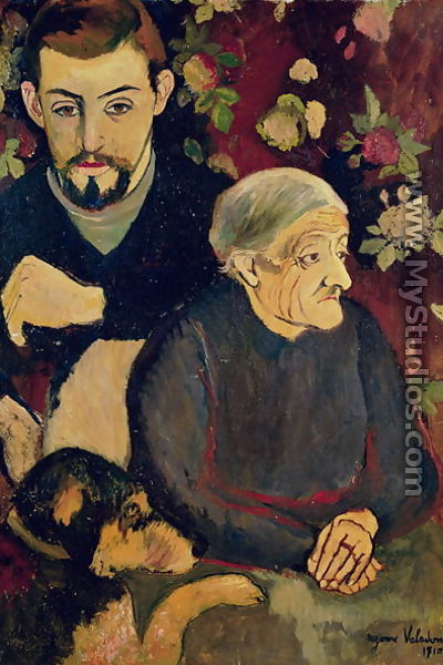 Portrait of Maurice Utrillo (1883-1955), his Grandmother and his Dog, 1910 - Suzanne Valadon