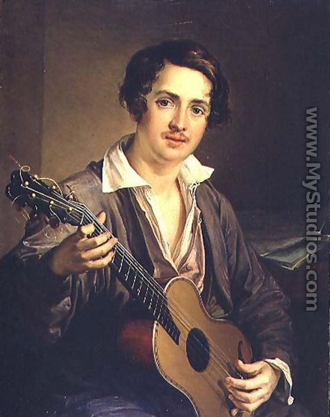 The Guitar Player: Portrait of the Virtuoso Guitarist Vladimir Ivanovich Morkov 1803-64 1839 - Vasili Andreevich Tropinin