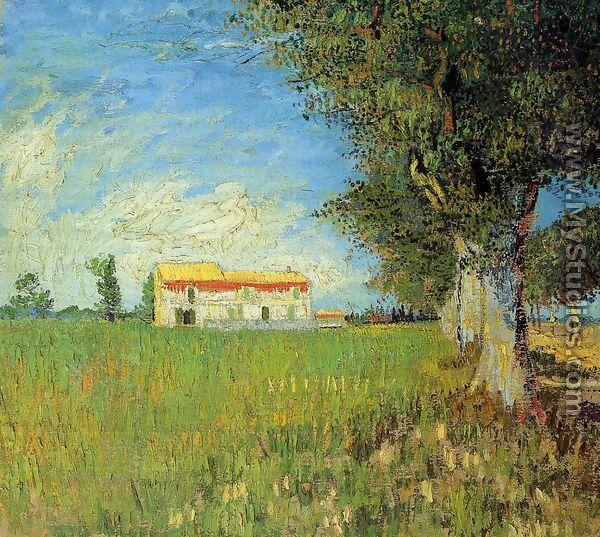 Farmhouse In A Wheat Field By Vincent Van Gogh Mystudios Com