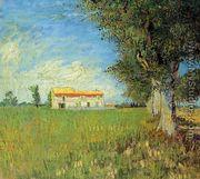 Farmhouse In A Wheat Field - Vincent Van Gogh