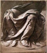 Garment Study For A Seated Figure - Leonardo Da Vinci