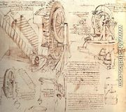 Drawings Of Water Lifting Devices - Leonardo Da Vinci