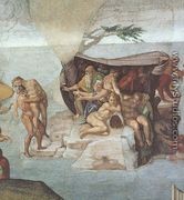 Ceiling Of The Sistine Chapel  Genesis Noah 7 9  The Flood Right View - Michelangelo Buonarroti