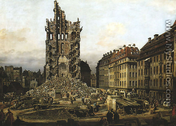 ruins of the old kreuzkirche in dresden by bernardo bellotto canaletto. Black Bedroom Furniture Sets. Home Design Ideas