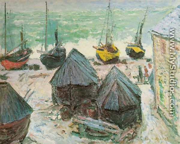Boats in Winter Quarters, Etretat - Claude Oscar Monet