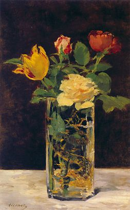 Manet- Still Life with Roses and Tulips in a Dragon Vase