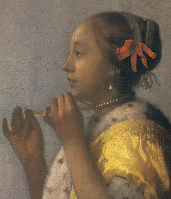 Vermeer: detail van 'Woman with a pearl necklace'