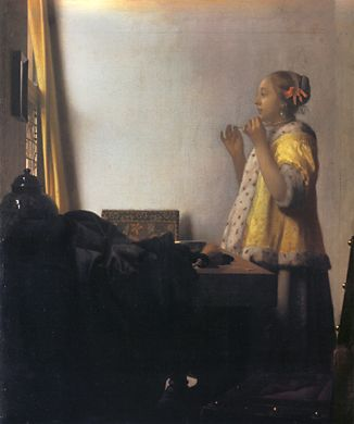 Vermeer: 'Woman with a pearl necklace' (1664-1665; olie op doek; 45 x 55 cm)